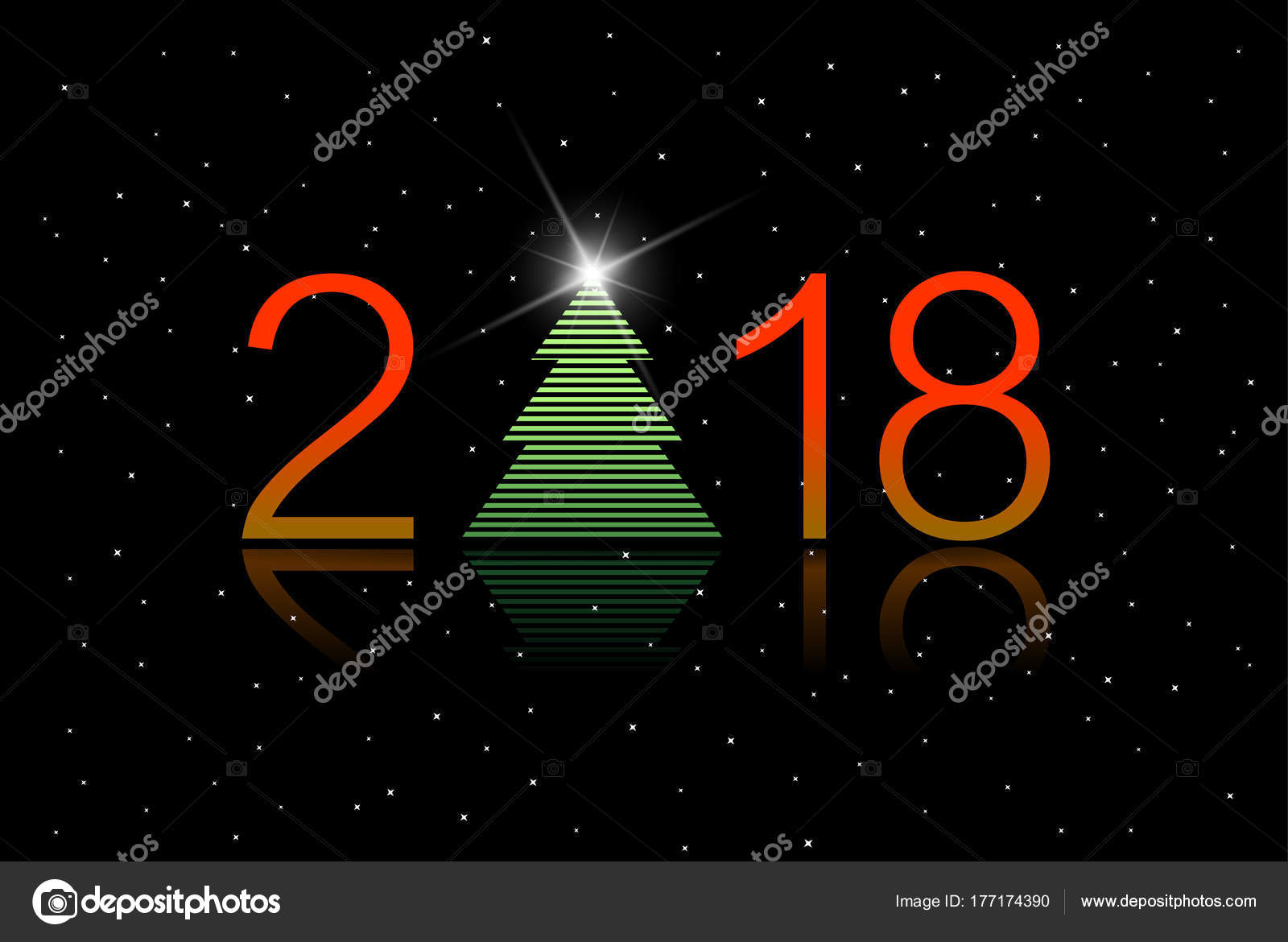 greeting card new year 2018 beautiful green tree red numbers stock vector
