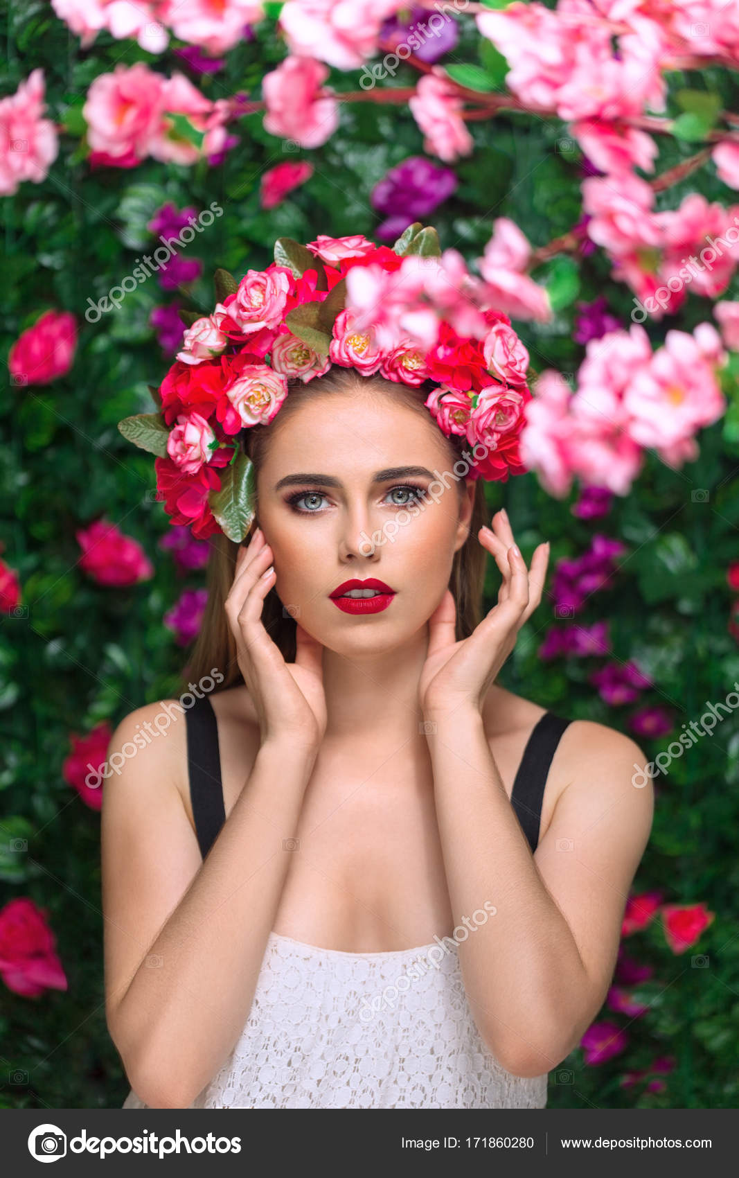 Beautiful woman with flowers stock photo avesun 171860280 beautiful woman with flowers stock photo izmirmasajfo