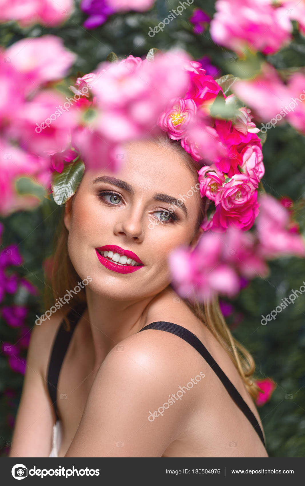 Beautiful woman with flowers wreath stock photo avesun 180504976 beautiful woman with flowers wreath stock photo izmirmasajfo