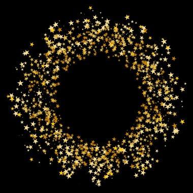 An image of a Gold Star Glitter Confetti Circle. clip art vector