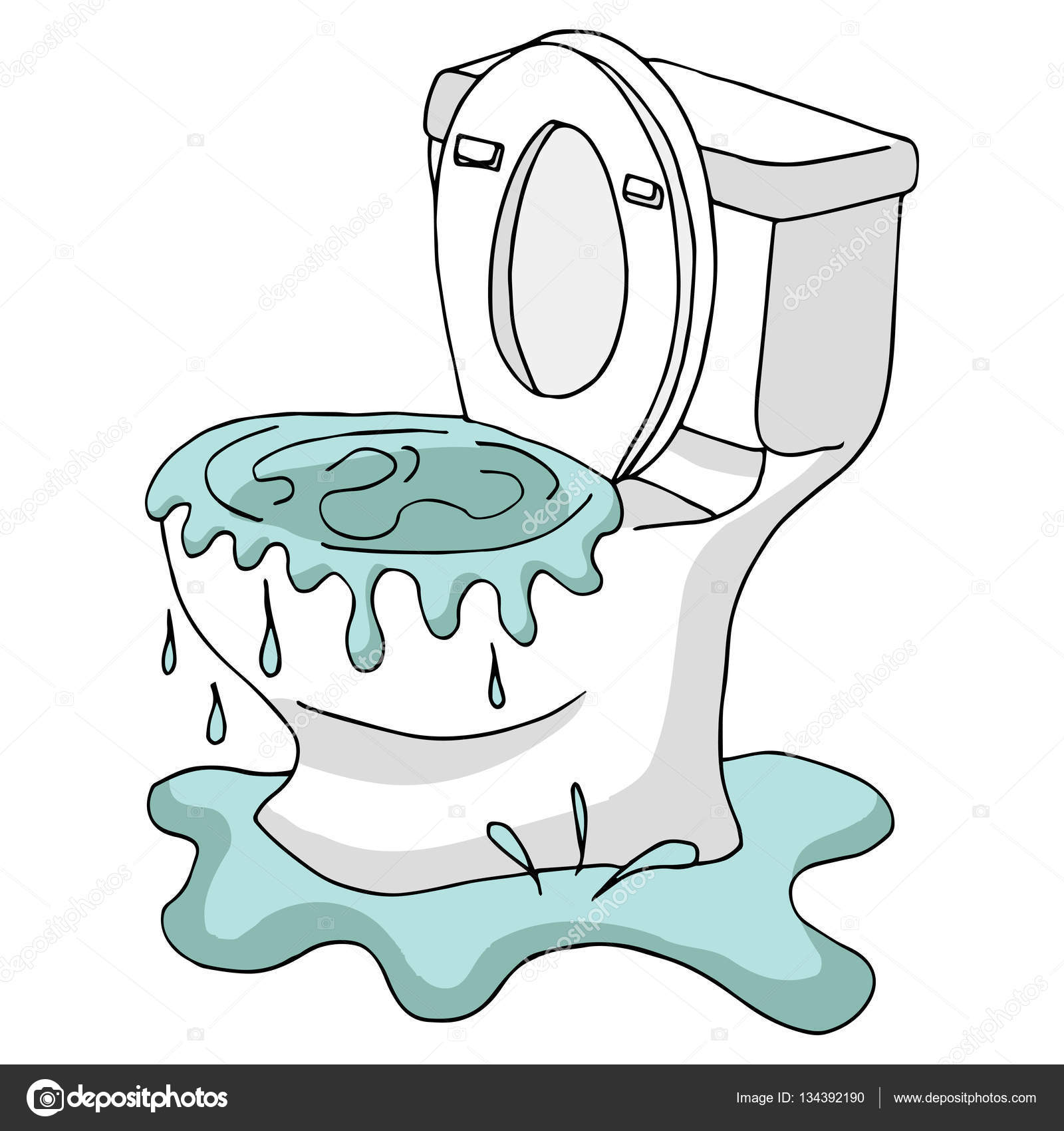Clogged Overflowing Toilet — Stock Vector © cteconsulting #134392190