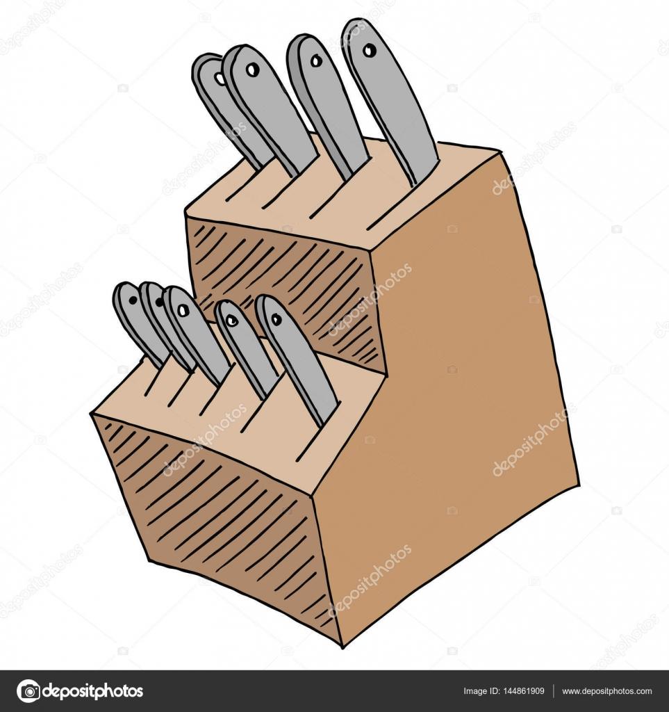 kitchen knife block set u2014 stock vector cteconsulting 144861909