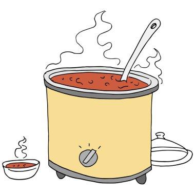 retro chili crockpot drawing