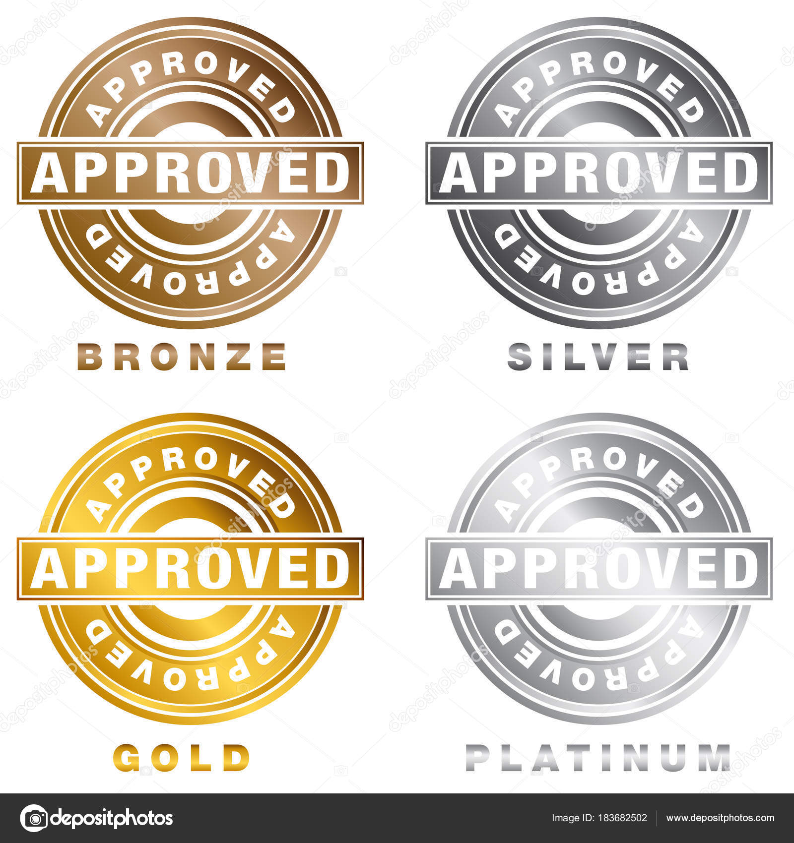 An Image Of A Bronze Silver Gold Platinum Approved Stamp Set Isolated On White Vector By Cteconsulting