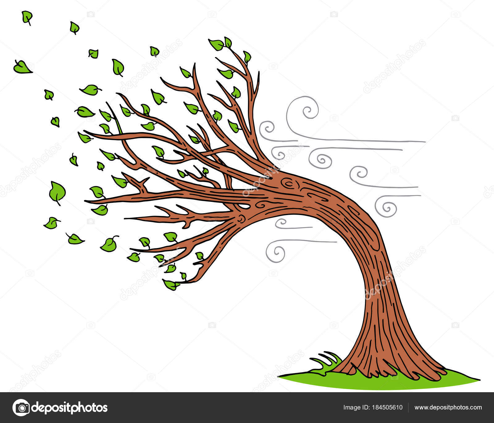 Blowing Wind Windy Day Tree — Stock Vector © cteconsulting