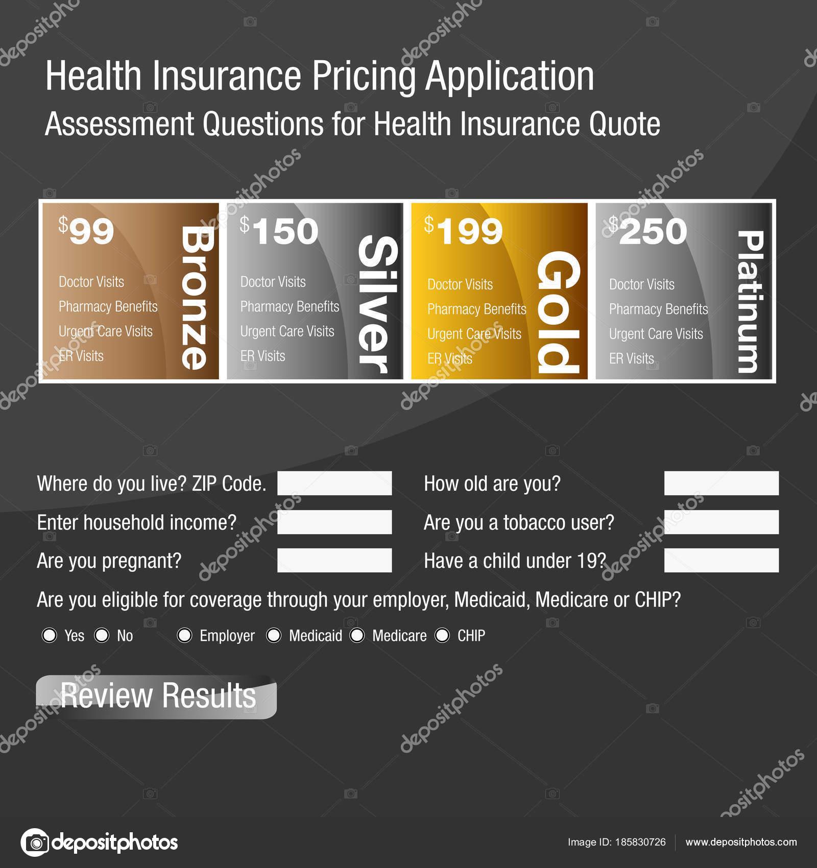 Formulario de solicitud de precios de seguros de salud — Vector de ...
