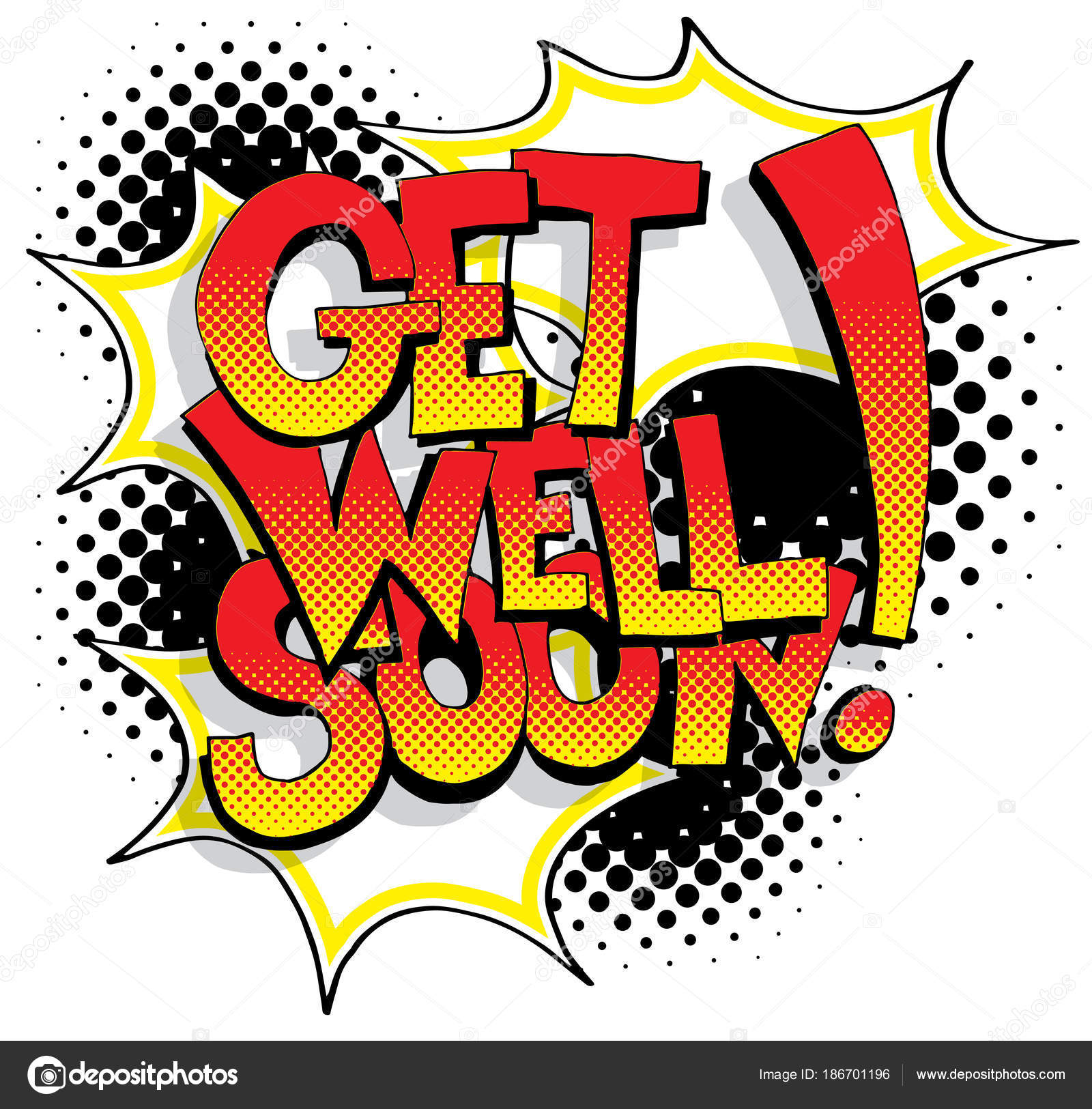 an image of a get well soon comic book words vector by cteconsulting