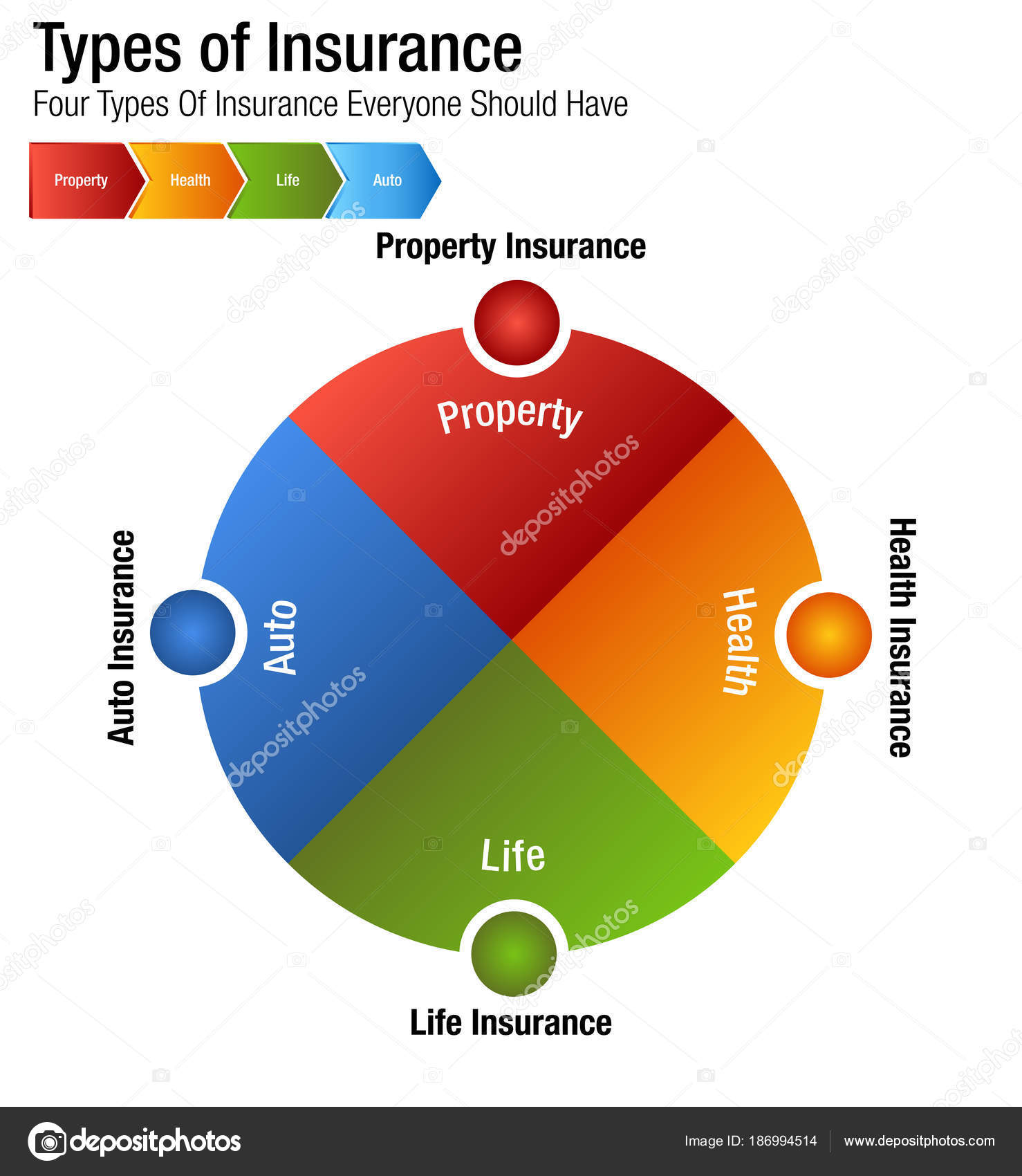 Types of Insurance Property Health Life Auto Chart — Stock Vector ...