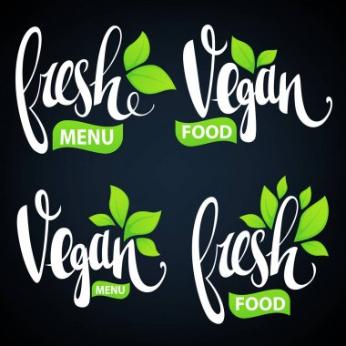 Fresh and vegan lettering for your organic food and menu logo icon