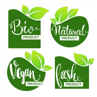 Bio, Natural, Vegan and fresh labels, banners and stickers collection icon