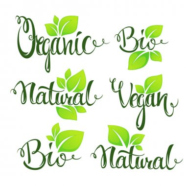 Organic, bio, natural and vegan lettering for your organic food and menu logo icon