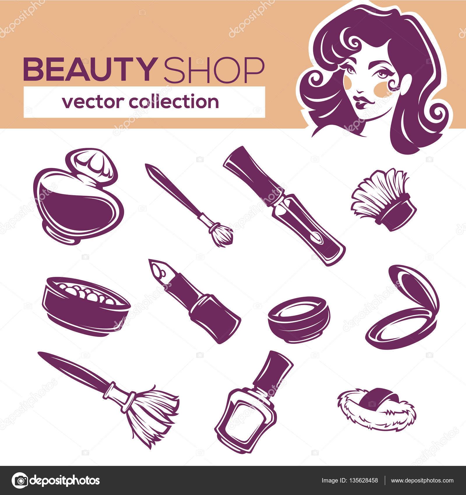 Vektor-Kosmetik Sammlung, Lidschatten, Lippenstift, Nagellack, ro ...