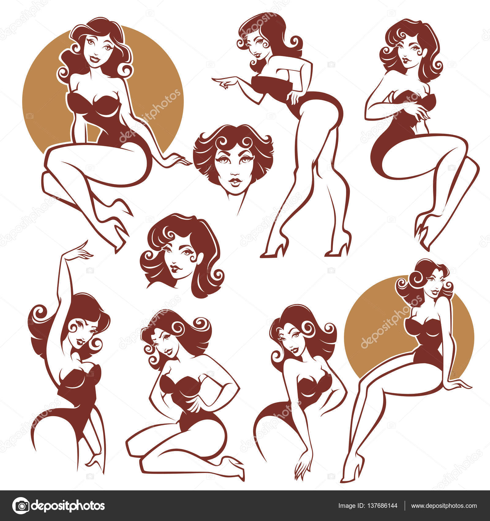 pinup girls vector collection stock vector tachyglossus 137686144