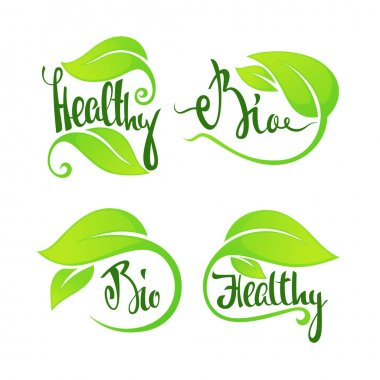 Bio and healthy, green leaves and lettering composition for logo, sticker, emblem, label icon