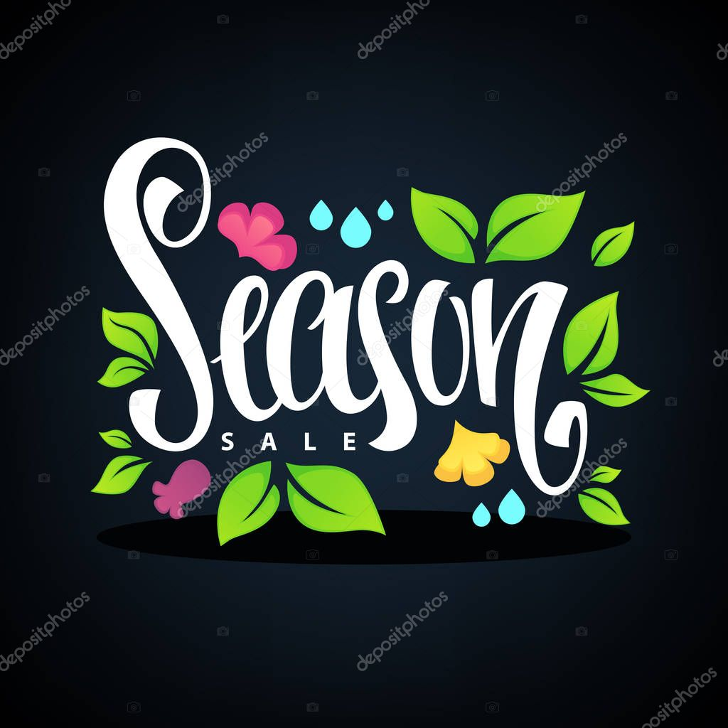 Season Sale, lettering composition with images of, green leaves,