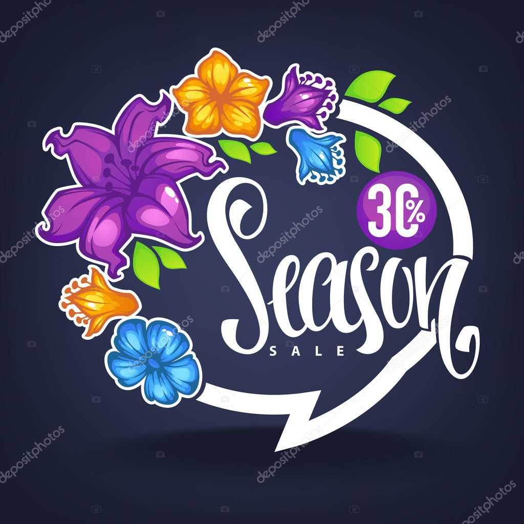 Season Sale, lettering composition with images of, green leaves