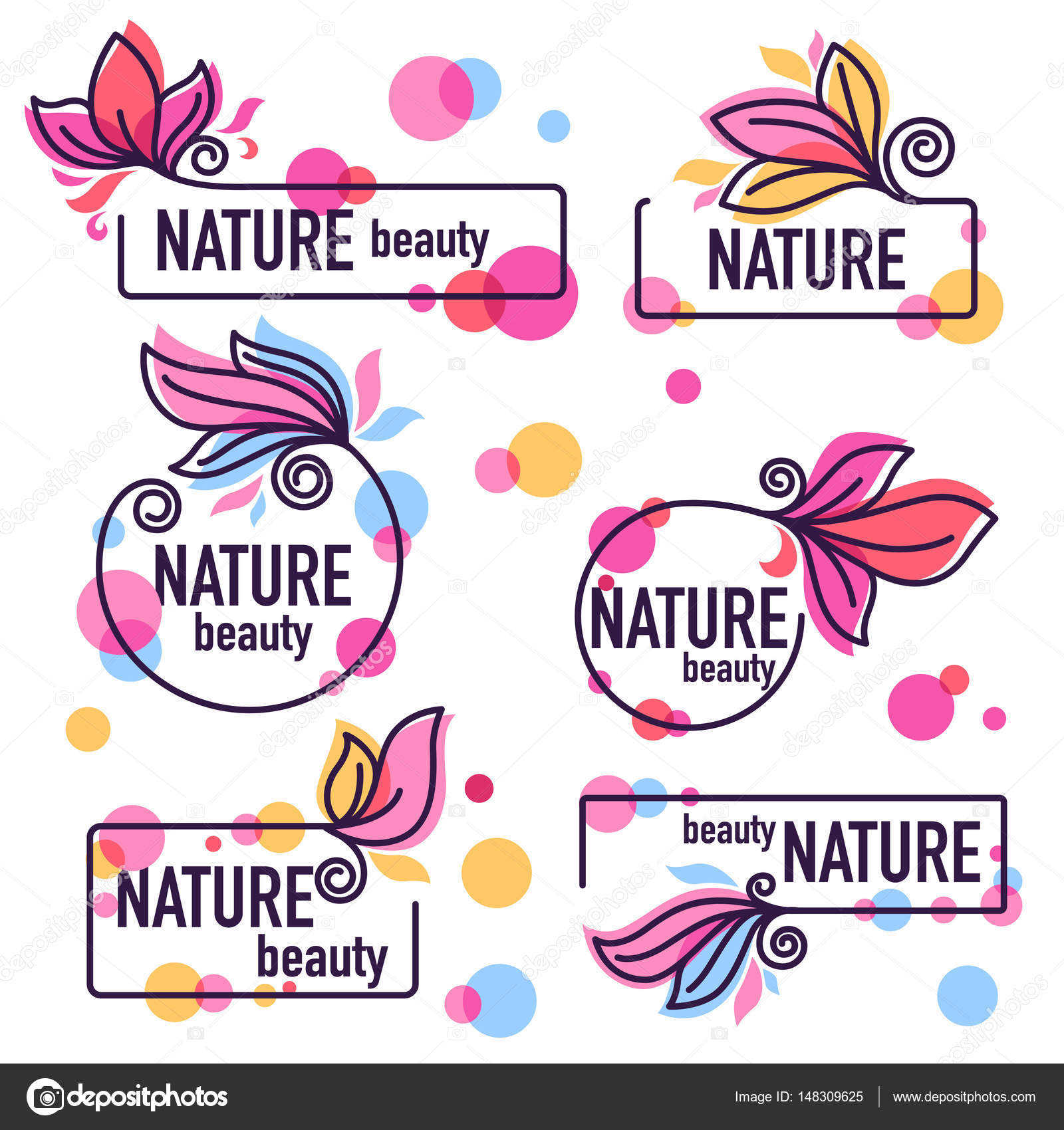 Vector Collection Of Doodle Flowers Emblems Frames And Logo Stock
