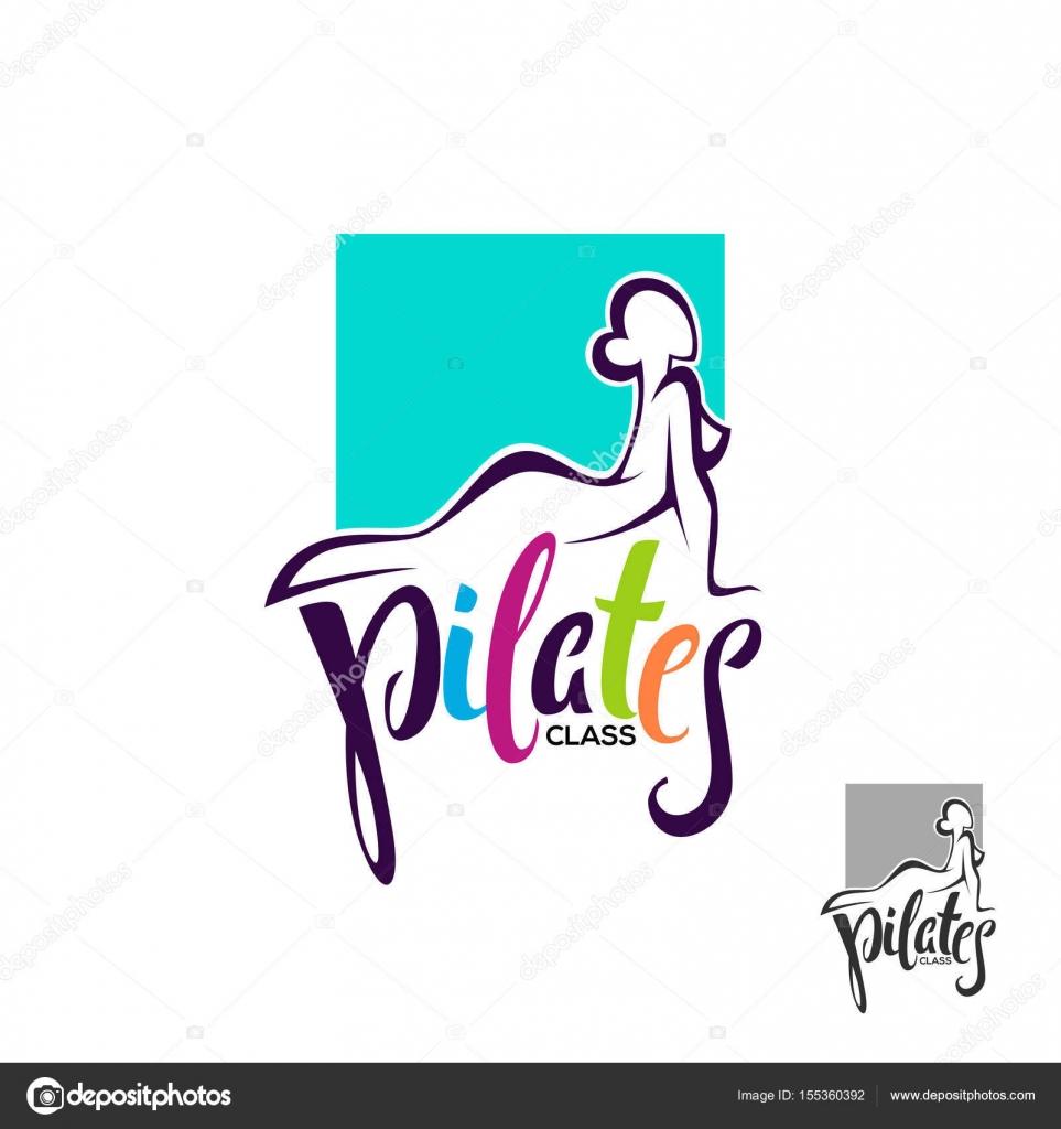 Pilates-Klasse, Lektion Logo Vorlage, Komposition mit Schriftzug ...