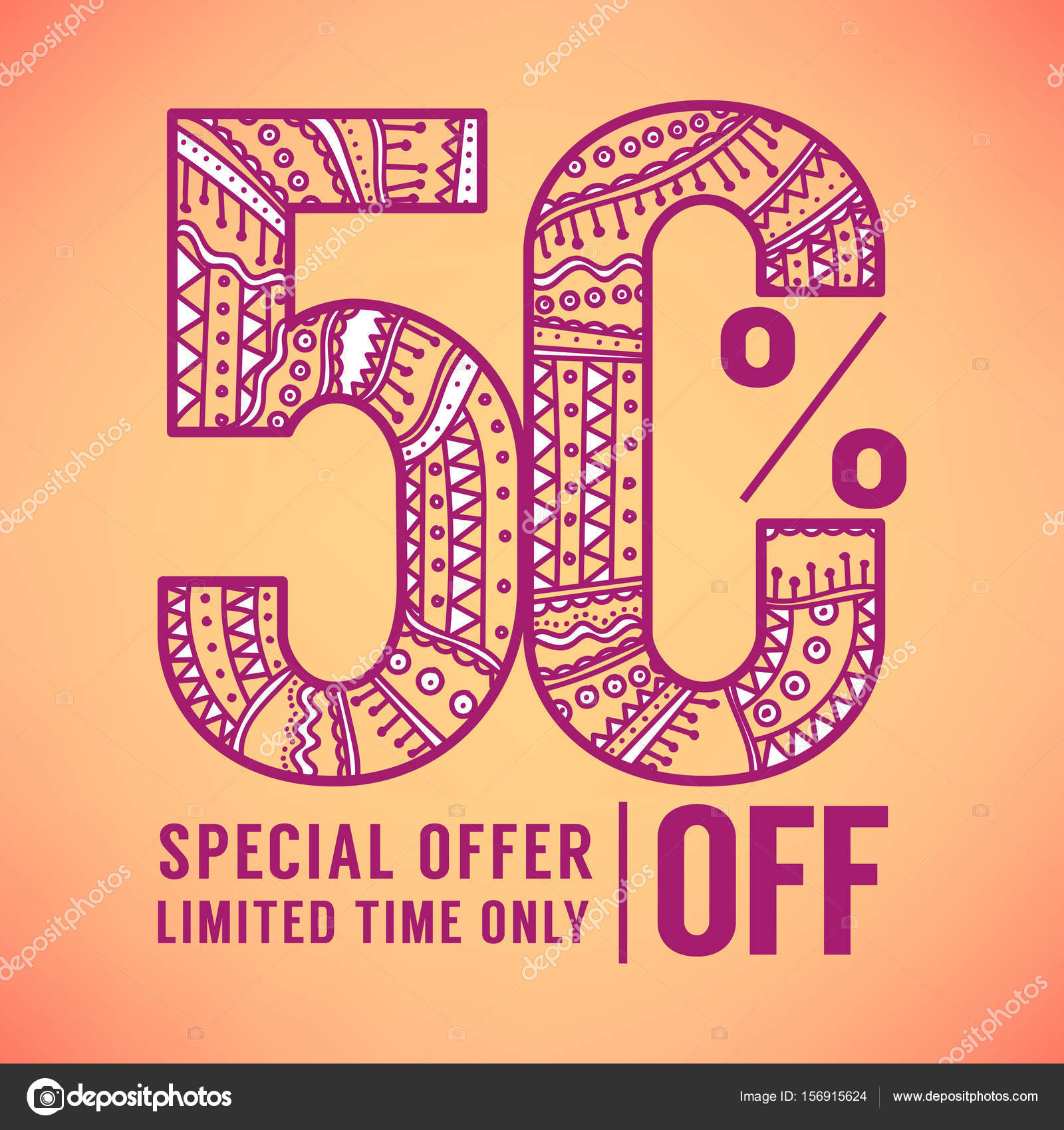 50 percent off ornamental doodle sale flyer template banner in