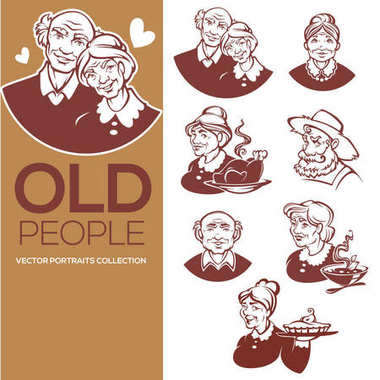 large vector collection of happy old people portraits for your l