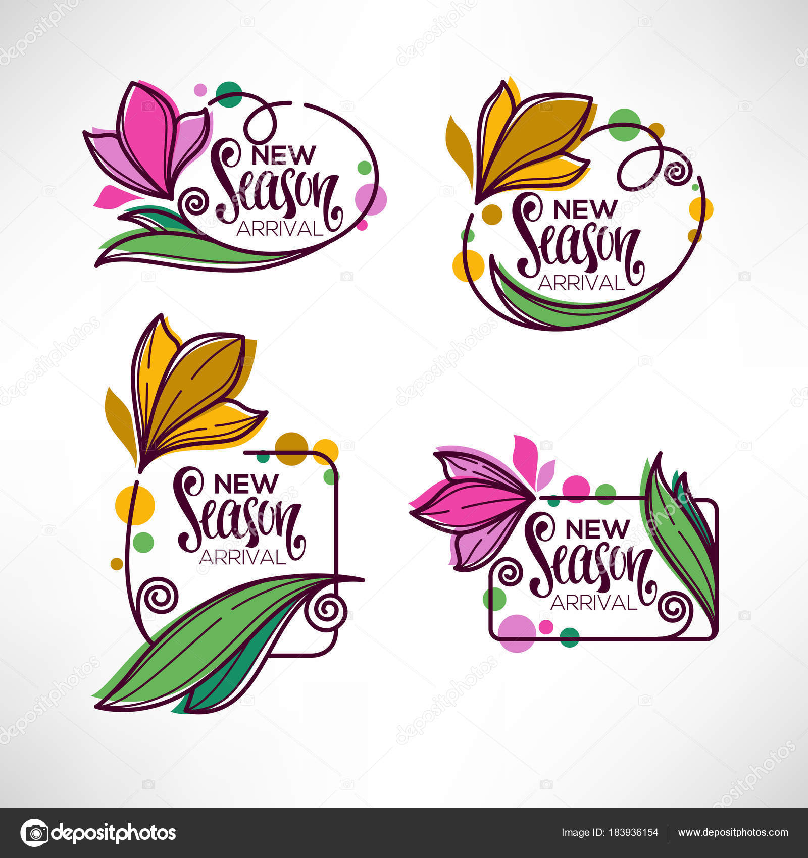 vector collection of doodle flowers emblems frames and logo with ...