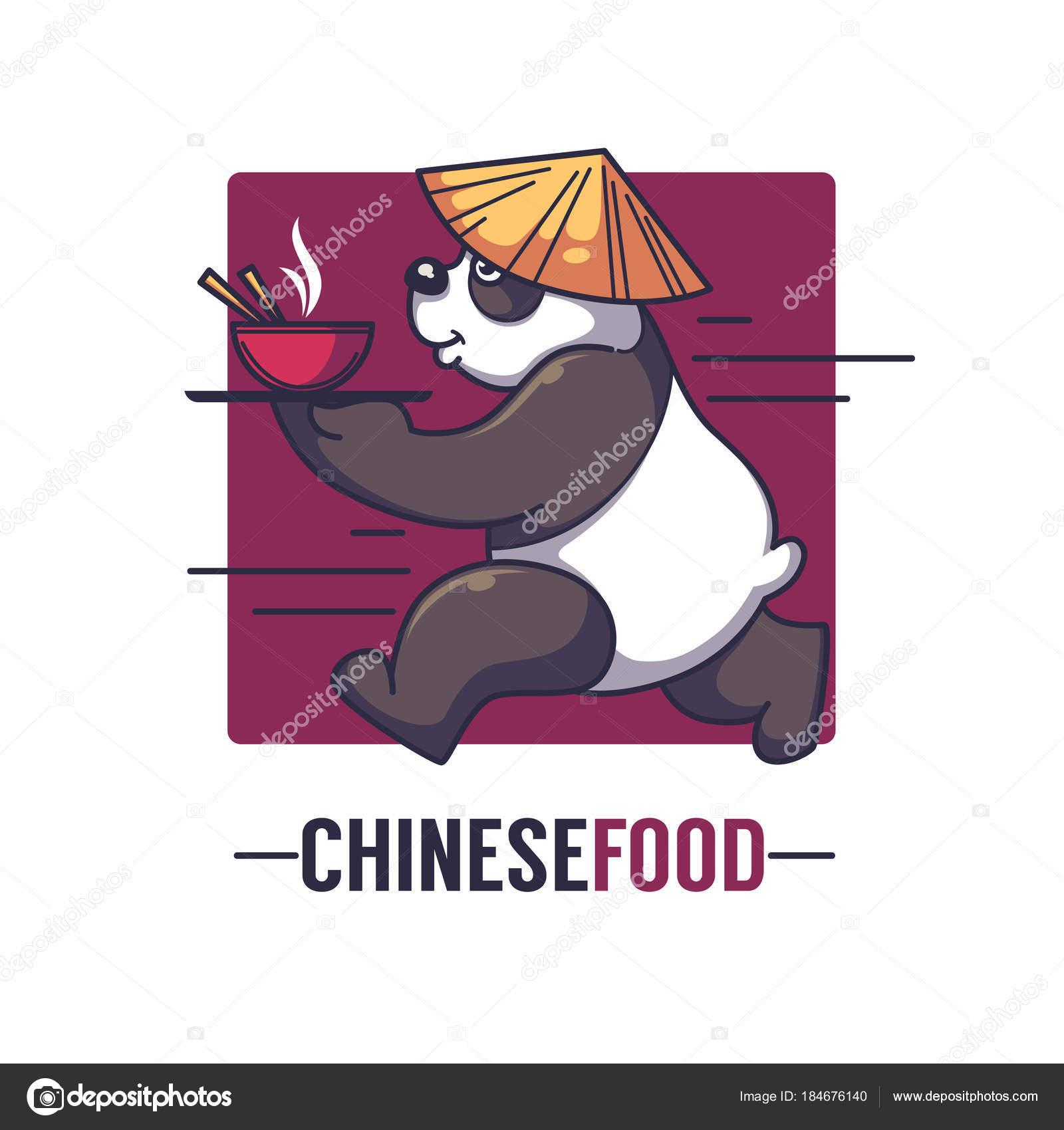 Lustige Cartoon Panda nimmt eine Schüssel voll von asiatischen ...