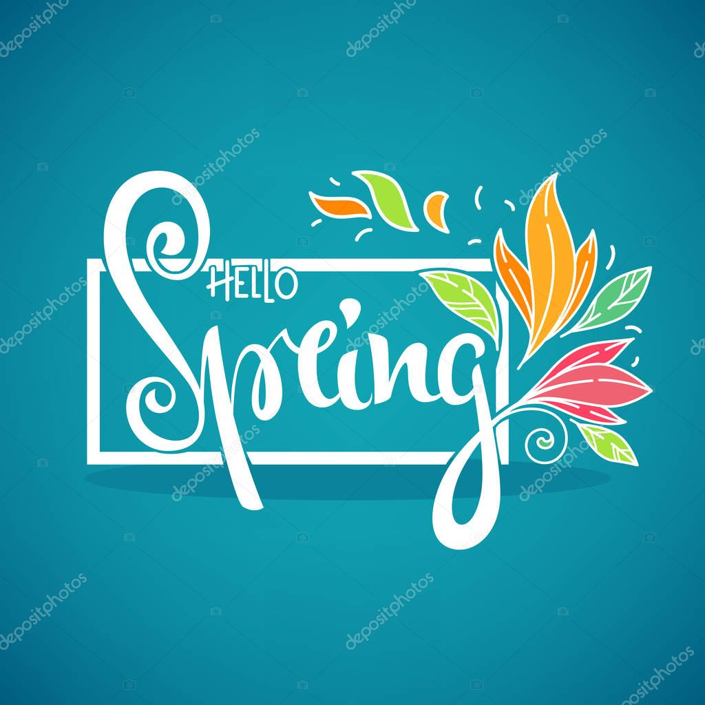 Hello Spring, vector template for your new season greeting backg