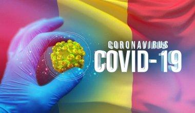 Coronavirus COVID-19 outbreak concept, health threatening virus, background waving national flag of Romania. Pandemic stop Novel Coronavirus outbreak covid-19 3D illustration.