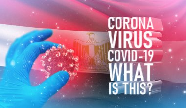 Coronavirus COVID-19, Frequently Asked Question - What Is It text, medical concept with flag of Egypt. Pandemic 3D illustration.