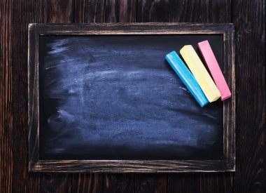 black board and chalks