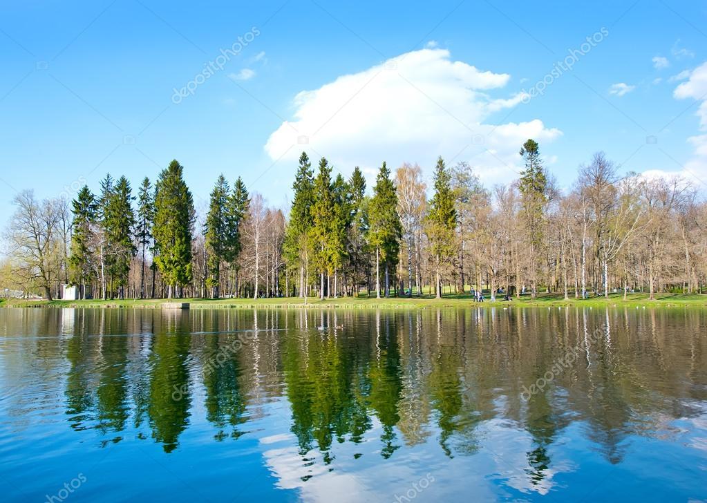 spring river and blue sky