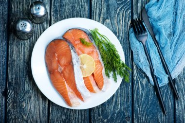 plate with salmon on table