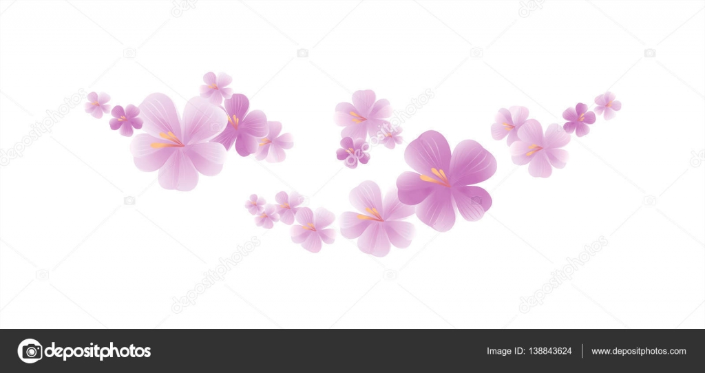 Flying Light Pink Purple Flowers Isolated On White Background