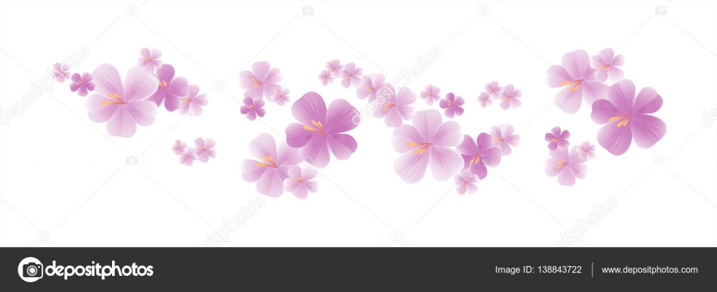 Flying light pink purple flowers isolated on white background flying light pink purple flowers isolated on white background sakura apple tree flowers mightylinksfo
