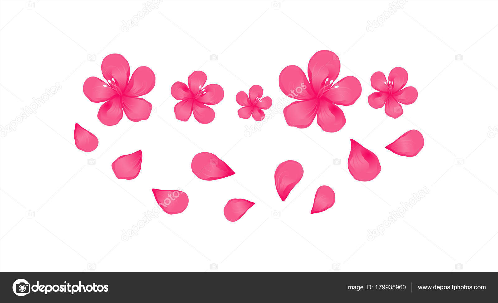 Bright pink flowers flying petals isolated white background apple bright pink flowers and flying petals isolated on white background apple tree flowers cherry blossom vector eps 10 cmyk vector by natashas mightylinksfo