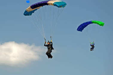 Skydiver on parachute