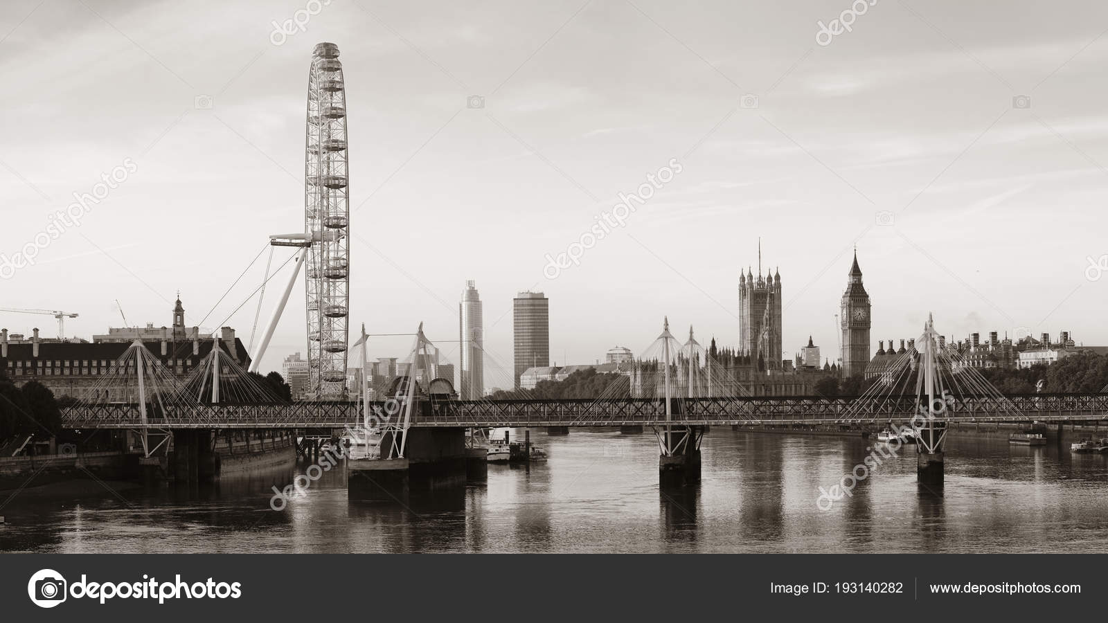 Thames River Panorama London Eye Westminster Palace Black