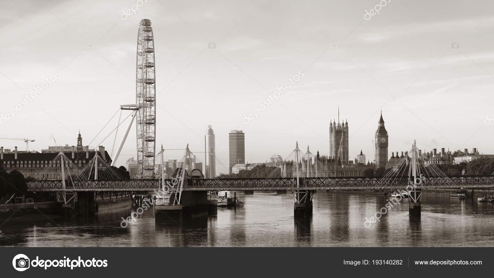 Thames River Panorama London Eye Westminster Palace Black