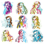 Set of women expressing different emotions