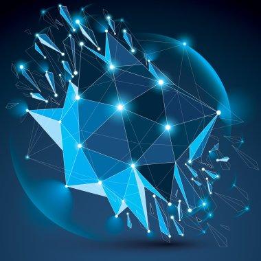 Digital wireframe blue object