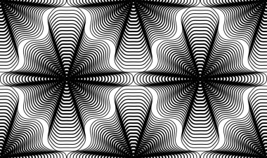 Geometric monochrome stripy seamless pattern