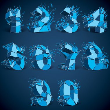 Set of low poly blue numbers