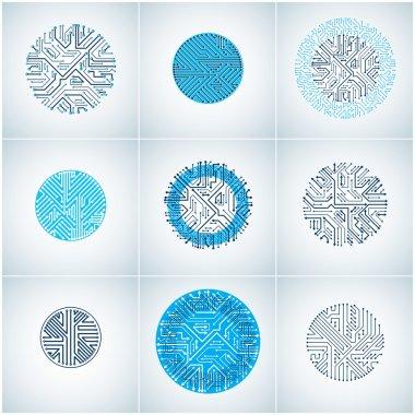 Blue circuit board circles