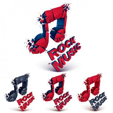 Set of 3d musical notes