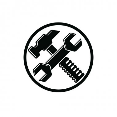 Hammer and wrench crossed