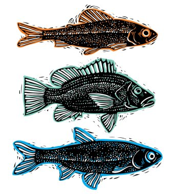 Set of drawn fishes