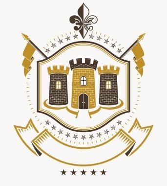 Heraldic design, vintage emblem.