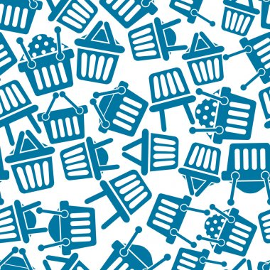 Shopping baskets icons seamless background