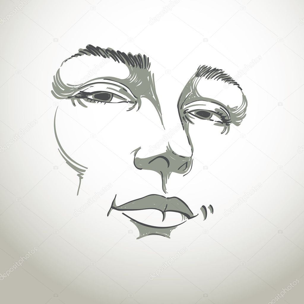 Hand-drawn monochrome portrait of white-skin flirting woman, face emotions theme illustration. Beautiful sexy lady posing on white background, girl with delicate face features. clipart vector