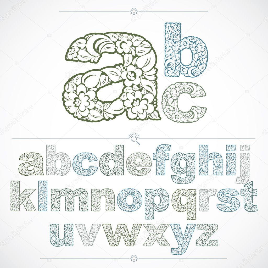 Set of beautiful lowercase letters